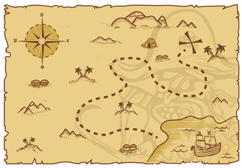 Illustration of a pirate map concept