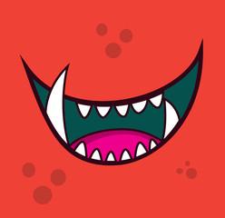 Monster open mouth face teeth cartoon avatar illustration vector stock