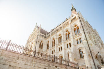 Hungarian National Parliament building viewed from the side of Dunabe river in Budapest, Hungary
