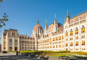 Building of Hungarian National Parliament in Budapest, Hungary - June 16, 2016