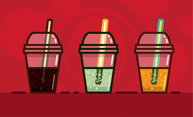 vector illustration in kawaii style carbonated soft drinks a different taste and light in glasses with straws on  bright red background