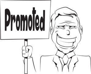 Illustration of a businessman holding a sign black and white