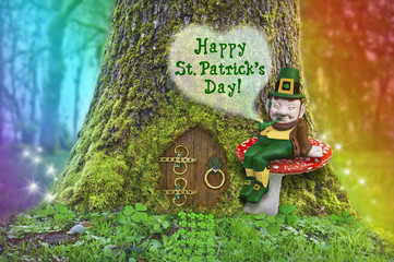 St. Patrick's Day leprechaun on a mushroom in forest with rainbow/St. Patrick's Day text with Leprechaun sitting on a mushroom in front of a tree with a fairy door, rainbow and fairy sparks of light
