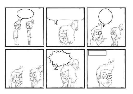 Boy and girl argue comic strip black and white