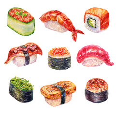 Watercolor sushi set of beautiful tasty japanese sushi illustration. Hand drawn objects isolated on white background.