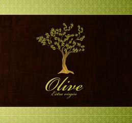 olive tree vintage label, vector background