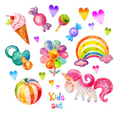Colorful Watercolor kids set in cartoon childish toys stile of unicorn, pacifier, heart, ball, flower, candy, ice cream, rainbow icons.Hand draw  kids set illustration isolated on white background.
