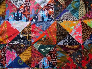 Batik quilt closeup