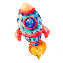 Watercolor Colorful rocket in cartoon childish stile. Hand drawing  Pretty watercolor rocket space icon illustration isolated on white background.