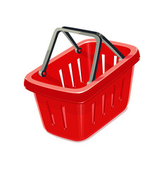 Red plastic basket for shopping