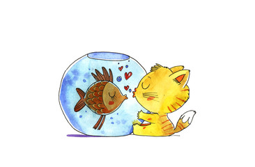 Cat and fish in aquarium. Watercolor illustration.