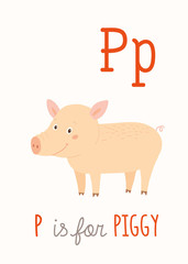Farm animal alphabet P for piggy. ABC Kids Wall Art.   Card. Nursery  poster  . Playroom decor.  is  the Pig. Cartoon clipart eps 10 illustration isolated on white.