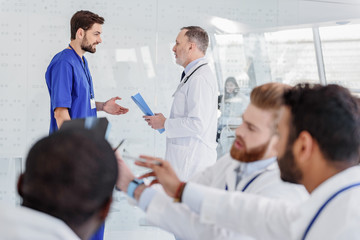 Medical team having conversation at clinic