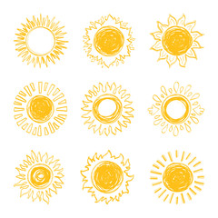 Sun icons collection, sunshine symbols. Hand drawn design elements, Vector doodle sketch