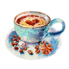 Watercolor blue cup of cappuccino illustration.The coffee cup with saucer and cinnamon isolated on white background, hand-drawn watercolor illustration