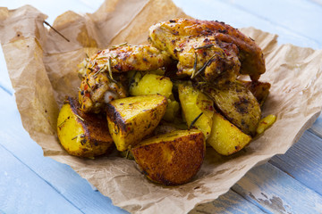 potatoes chicken grill meat spices food