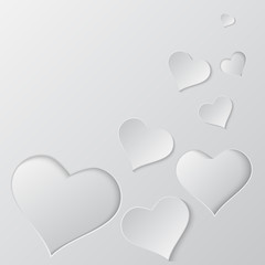 Paper cut hearts  vector background