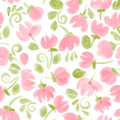 watercolor flowers seamless vector pattern