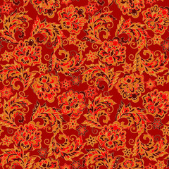 Ornamental motifs of the Indian fabric patterns.
