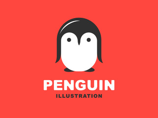 Penguin flat logo - vector illustration, emblem design on red background
