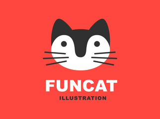 Cat flat logo - vector illustration, emblem design on red background