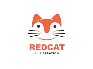 Cat logo - vector illustration, emblem design on white background
