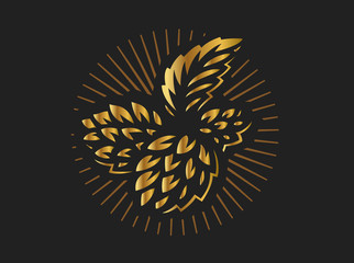Golden hop - vector illustration, design on black background