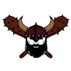emblem Viking warrior skull logo