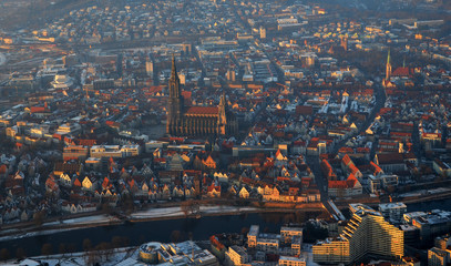 Aerial view  of foggy Ulm, south germany on a sunny winter day