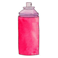 Aerosol can. Spray paint can or deodorant spray, hairspray. Graffiti paint bottle. Watercolor hand drawn illustration. Isolated on white background.