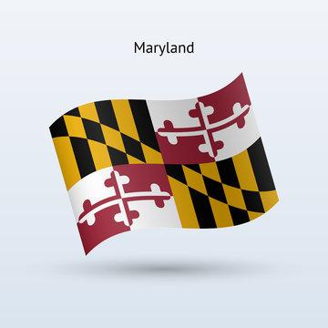 State of Maryland flag waving form. Vector illustration.