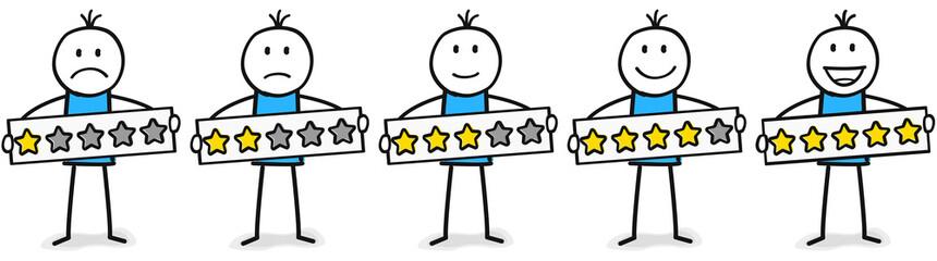 Fünf Figuren mit Sternebewertung von eins bis fünf Sterne