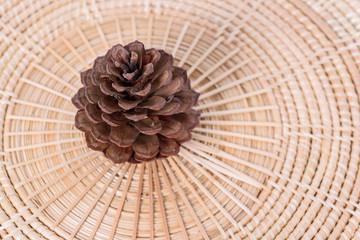 pine cone white wicker on white background