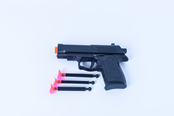 toy  black gun plastic for children on white background