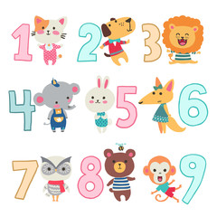 Birthday anniversary numbers with funny animals character for card kids, party, invitation. Vector illustration.