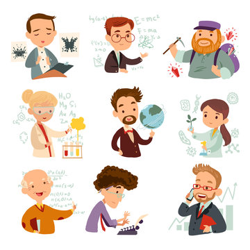 Set of cartoon characters scientists isolated on white background. Vector illustration of a mathematician, physicist, chemist, economist, geologist, biologist, writer and geographer.