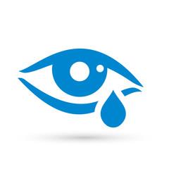 Crying woman eye tear icon