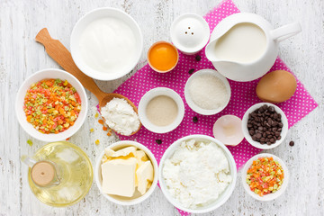 Ingredients for traditional Easter cake kulich