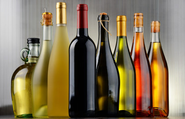 Composition with assorted bottles of wine