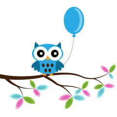 Owl boy on a branch with air balloon