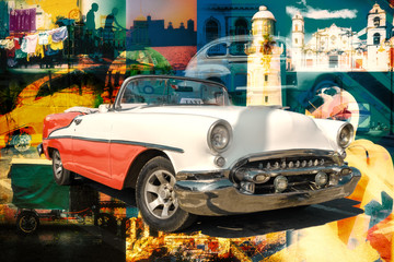 Poster Havana Collage of cuban landmarks and typical scenes with a classic car