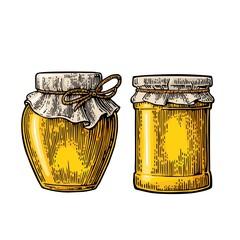 Glass jar. Vector vintage engraved illustration.