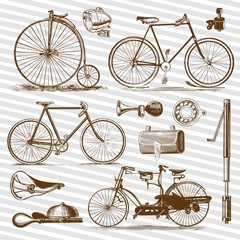 Bicycle retro draw, accessories and tools in vintage illustration collection