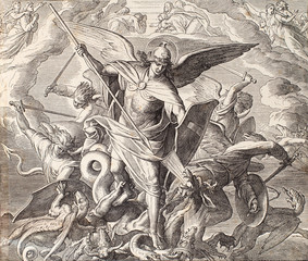Archangel Michael fighting with dragon, engraving of Nazareene School, published in The Holy Bible, St.Vojtech Publishing, Trnava, Slovakia, 1937.