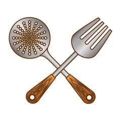 color skimmer with big fork tools, vector illustration