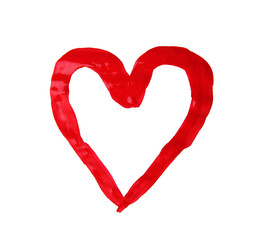 Painted heart on white background