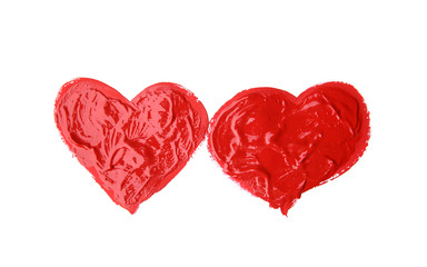 Painted hearts on white background