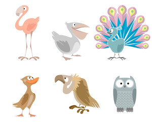 Six funny birds