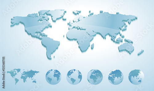 3d world map illustration with earth globes showing all continents 3d world map illustration with earth globes showing all continents vector illustration template for website gumiabroncs Choice Image