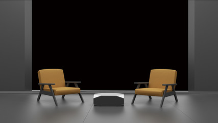 interior with empty window isolated on black 3D rendering